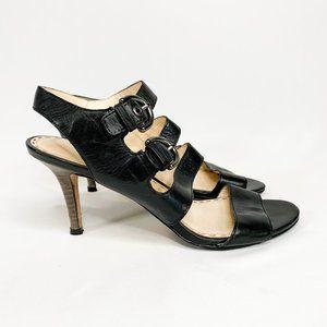 COACH Rustic Black Leather Sandal Heels Buckle